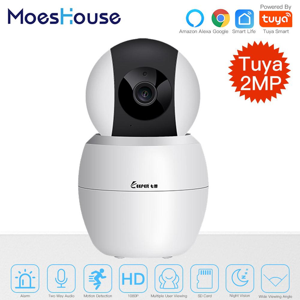 Tuya Smart Camera WiFi Security Rotating Camera HD 1080P Network Two-way Audio IP Camera Work With Alexa Echo Google Assistant