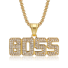 Hip Hop Iced Out Bling Boss Letter Necklace Gold Color Stainless Steel CZ Pendant & Chains for Men/Women Jewelry Dropshipping hip hop iced out bling horse head pendants necklaces for men gold color stainless steel round cz necklace jewelry dropshipping