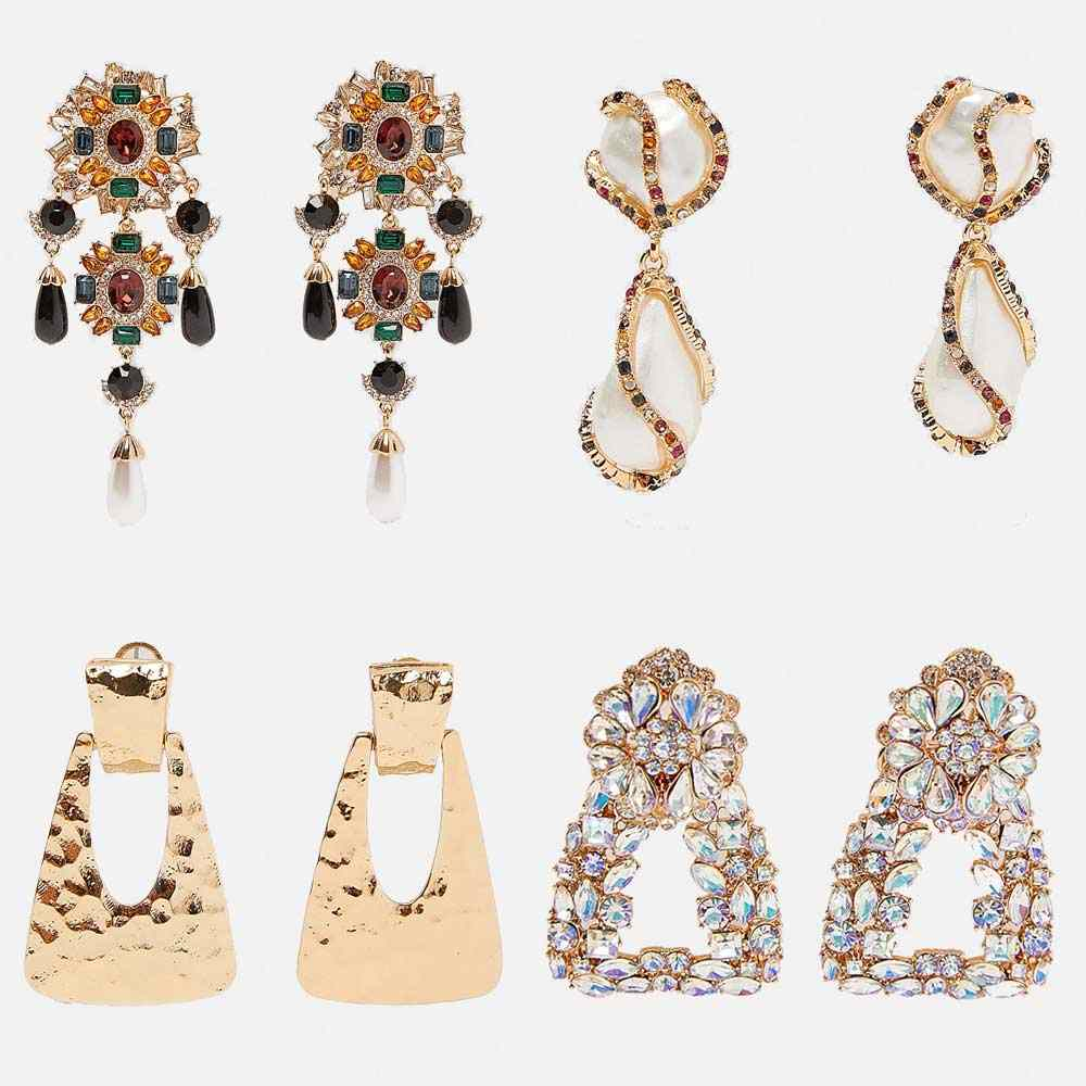 Dvacaman New ZA Crystal Earrings for Women Vintage Ethnic Pearl Maxi Geometric Dangle Drop Earrings Wholesale Jewelry Party Gift
