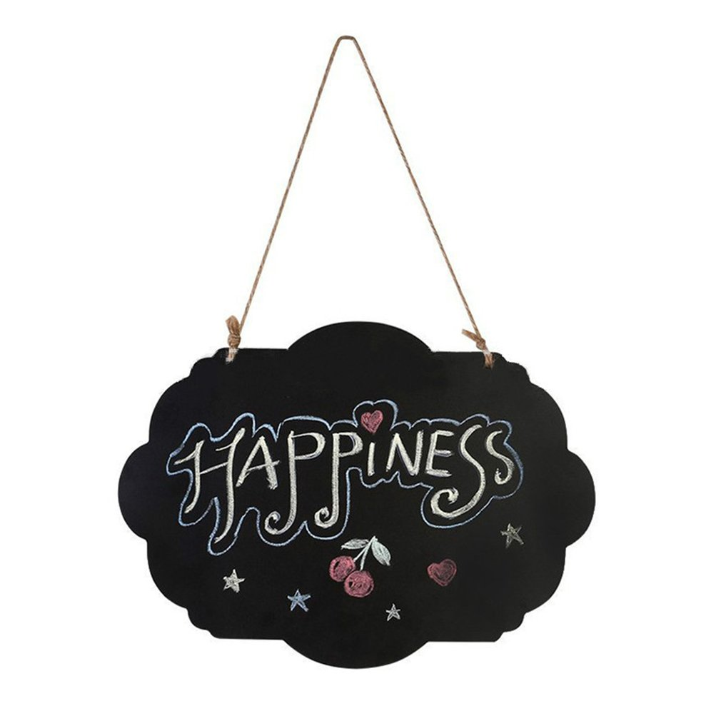 Flower Hanging Wooden Blackboard Double Sided Erasable Chalkboard Wordpad Message Black Board Office School Supplies