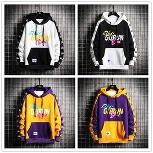 Image 4 - SingleRoad Mens Winter Hoodies Men 2020 Fleece Yellow Hoodie Men Sweatshirt Hip Hop Patchwork Harajuku Japanese Streetwear Women
