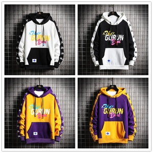 Image 4 - Singleroad hoodies de inverno dos homens 2020 velo amarelo hoodie moletom masculino hip hop retalhos harajuku japonês streetwear feminino