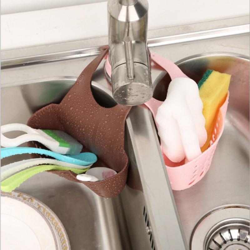Adjustable Sink Hanging Drain Basket Kitchen Sink Sponge Holder Draining Rack Kitchen Storage Tools Storage Shelf Sink Holder