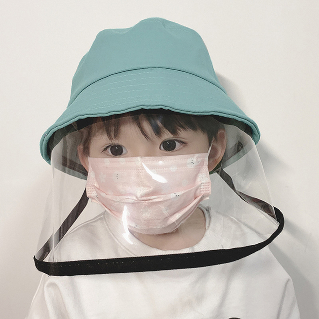 Kid Transparent Full Face Mask With Removable Cap Saliva Mouth Masks Windproof Fisherman Hat Brim