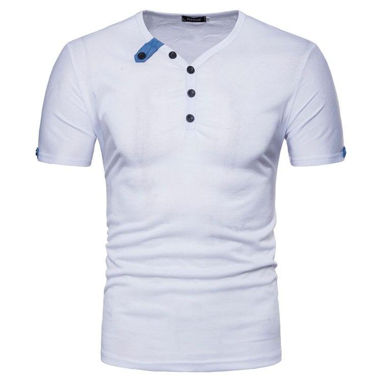 Мужская модная футболка, Повседневная летняя новая Однотонная футболка с коротким рукавом и пуговицами