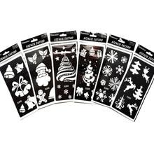 6 шт./компл. трафареты для блестящих татуировок шаблон детей татуировки Bady временные Шаблоны для Рождественская картина снег Санта Клаус