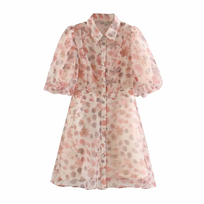 New 2020 Women Sweet Flower Print Lantern Sleeve Organza A Line Dress Ladies Casual Slim Vestidos Chic Brand Mini Dresses DS3639