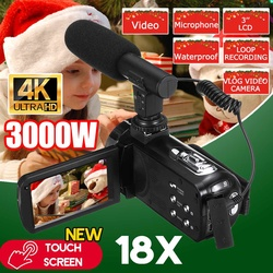 30 MP Professional 4K HD Camcorder Video Camera Night Vision 3.0 Inch HD Touch Screen Camera 18X Digital Zoom Camera With Mic