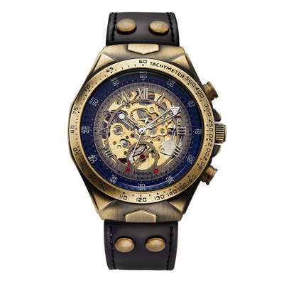 Luxury Retro Bronze Relogio Masculino Male Clock Skeleton Mechanical Watch Men Automatic Watches Sport Leather Watch