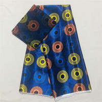 African wax ribbon silk wax ankara 2019 satin fabric 4 yards audel/modell cotton fabric for dress +2 yards chiffon XM102619