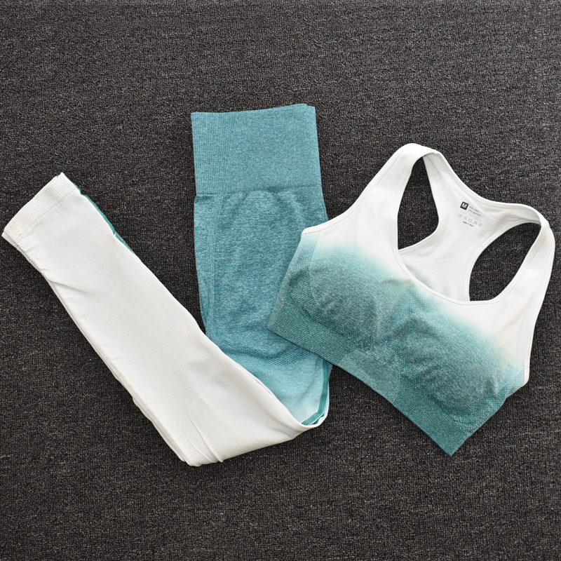 BraPantsGreen - Women's Sportwear Seamless Fitness Gradient Yoga Set
