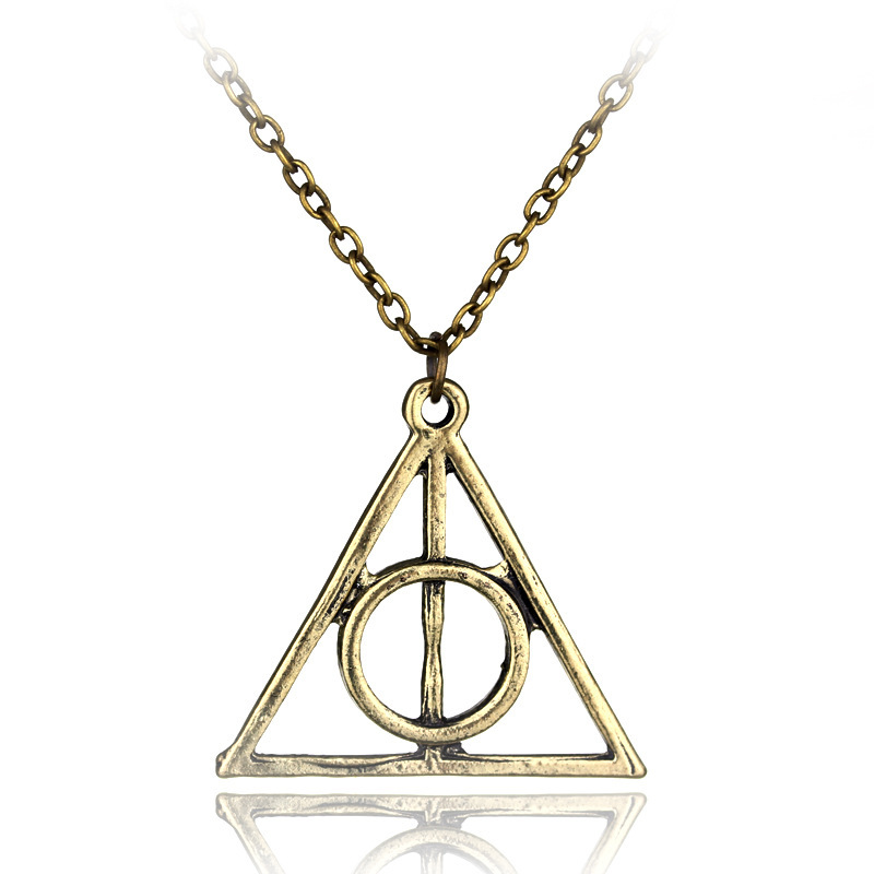 Go Triangular Harry Potter Luna. Lovegood Middle Resurrection Stone Rotatable Death Hallows Necklace
