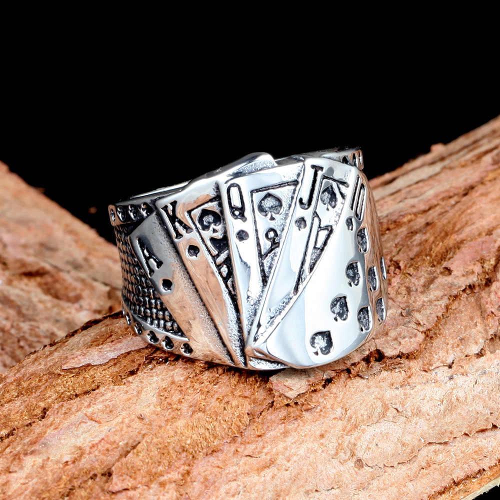 QMHJE ポーカーチタン鋼男性リングシルバーストレートフラッシュ幸運の宝石のパンクの雄バイカーバンドヒップホップリングヴィンテージシール