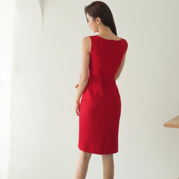 Pencil Dress Women Summer Red  2