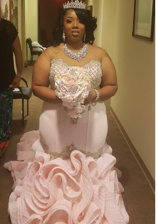 Blush Pink Mermaid Wedding Dresses 18Sweetheart Beads Appliques ...