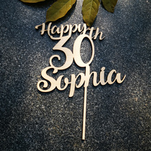 Personalized Wooden Happy Birthday Cake Topper,Custom name and Age Acrylic Gold/silver,Birthday Cake Topper Party Decorations