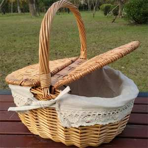 Picnic Basket Hamper Wicker-Bags Shopping-Storage Woven Camping with Lid Fruit Hand-Made