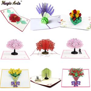3D Pop-Up Cards Flowers Card Mothers Day Wedding Anniversary Birthday Gifts Card Greeting Cards for All Occasions Wife Her Girl(China)