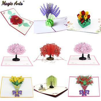 Karty kirigami 3D kwiaty karty dzień matki rocznica ślubu urodziny prezenty karty kartki z życzeniami na każdą okazję żona jej dziewczyna tanie i dobre opinie Magic Ants Festiwali Inne Święto dziękczynienia Uniwersalny Składane typu Flowers Folding Type Handmade Laser cut Cutting paper