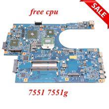 Nokotion JE70 DN mb 09929 1 48.4hp01.011 mbbkm01001 placa principal para acer aspire 7551 7551g computador portátil placa mãe hd5470 cpu livre