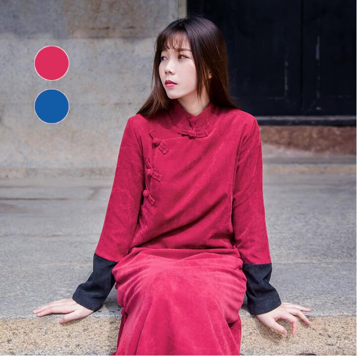 Chinese Style Plate Button Corduroy Tea And Zen Literature And Artretro Women's Clothing  Winter Large Tang Style Hot Sell Thin
