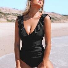 Monokini Swimwear Bathing-Suits CUPSHE Lace-Up Ruffled Black Girl Sexy Beach Women New