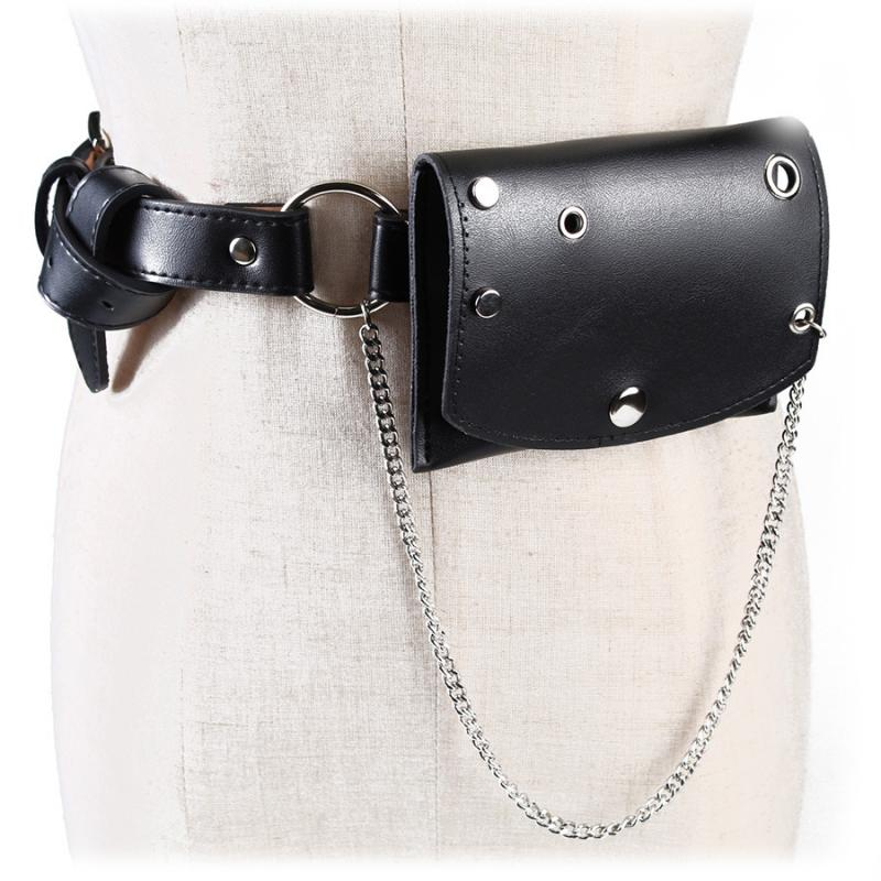 Leather Women's Waist Bags New Fashion Street Chain Rivets Solid Color Wild Small Fanny Pack Female Mini Casual Phone Belt Bags