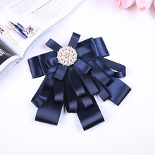 Bank Hotel Stewardess Professional Collar Flower Waitress Formal Dress Bow Tie Student Work Clothes Shirt Solid Color