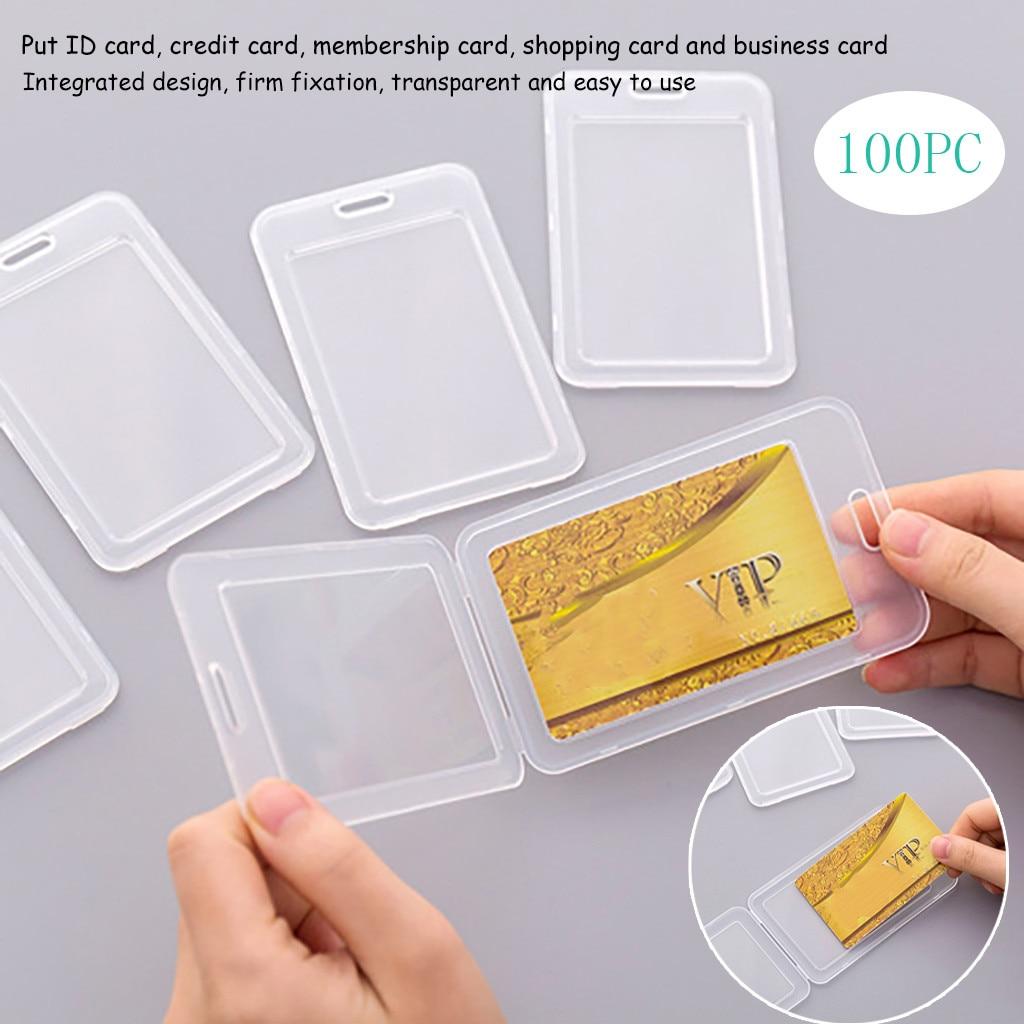 Самые продаваемые продукт Набор для автобусной карты мини держатель для карт ID карты Чехол держатель карты из ПВХ практичный 100 ПК Поддержка; Оптовая продажа; Прямая поставка;