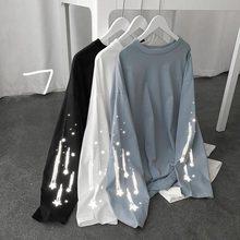 2021 nova primavera pequena estrela luminosa impressão tshirt feminino manga longa t camisas moda sólida casual em torno do pescoço pulôver feminino topo