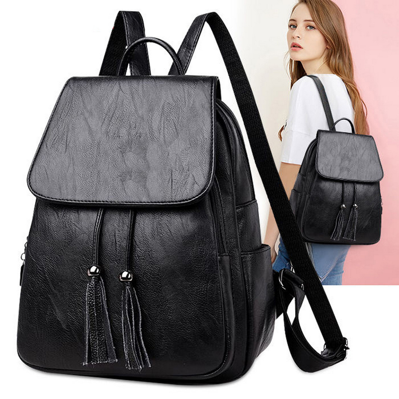 New Tassel Quality Pu Leather Backpack Women Drawstring Bag Black Red Soft Solid Backpack Female Youth Bagpack For Teenage Girls