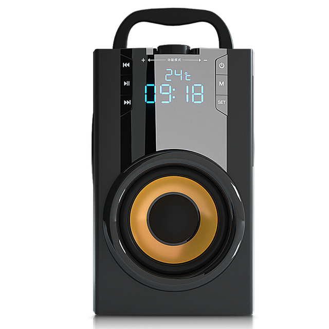 2200mAh 4.2 무선 블루투스 스피커 야외 LED 디스플레이 3D 서라운드 스테레오 서브 우퍼 플레이어 라디오 알람 시계 TF FM AUX 카드