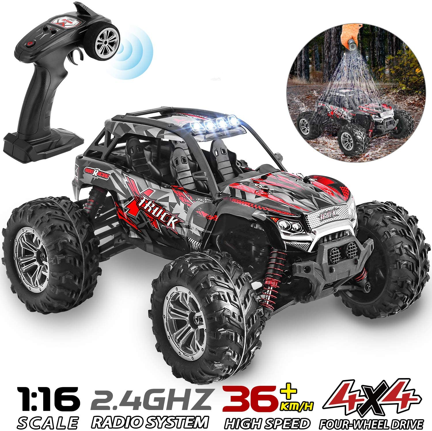 Histoye 4WD IPX4 Waterproof RC Cars High Speed Remote Control Cars for Kids Monster Truck Buggy Rock Crawler with Headlight(China)