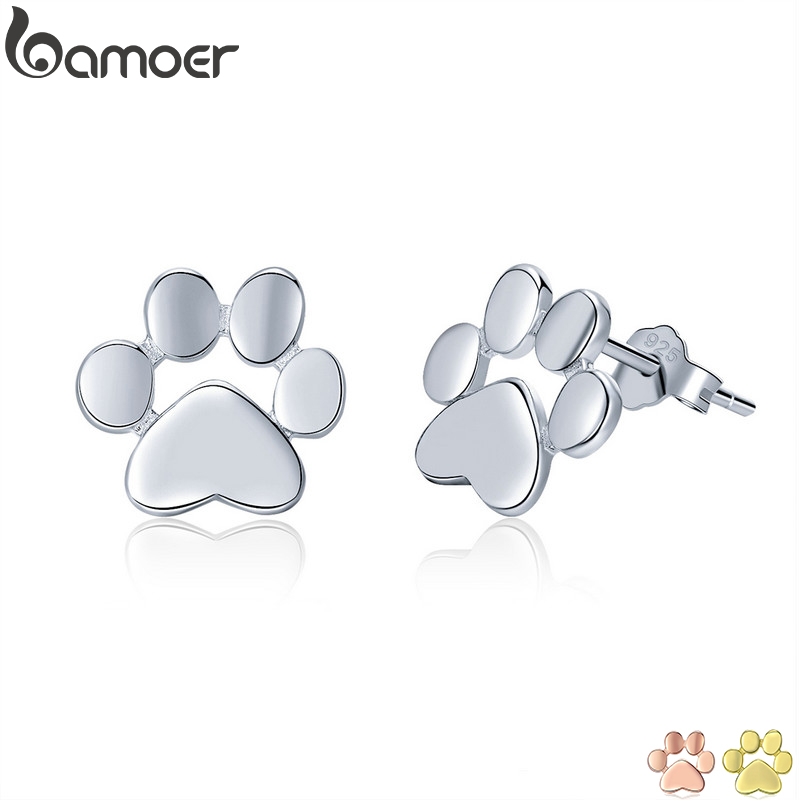 BAMOER 925 Sterling Silver Animal Dog Cat Paw Stud Earrings For Women Footprints Valentine's Day Gift SCE407