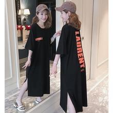 New fshion Korean version of the loose split T-shirt dress Letter printed cotton large size