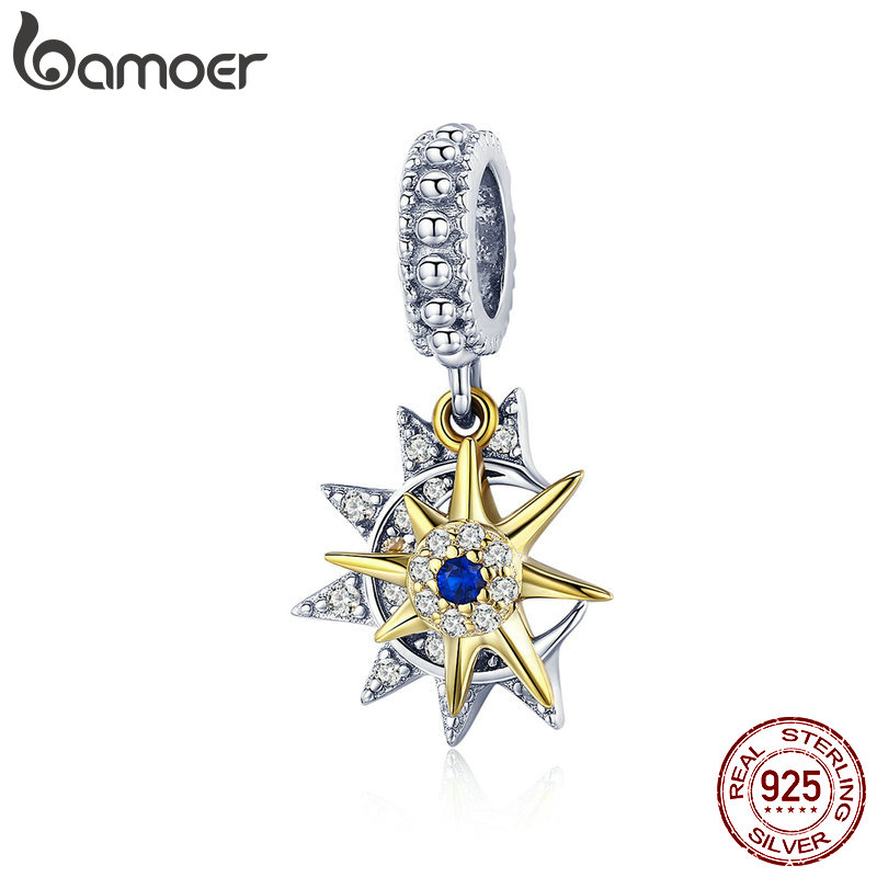 BAMOER High Quality 925 Sterling Silver Sun Meet Moon Pendant Fit Charms Bracelets Necklaces Clear CZ Zircon Jewelry SCC1135