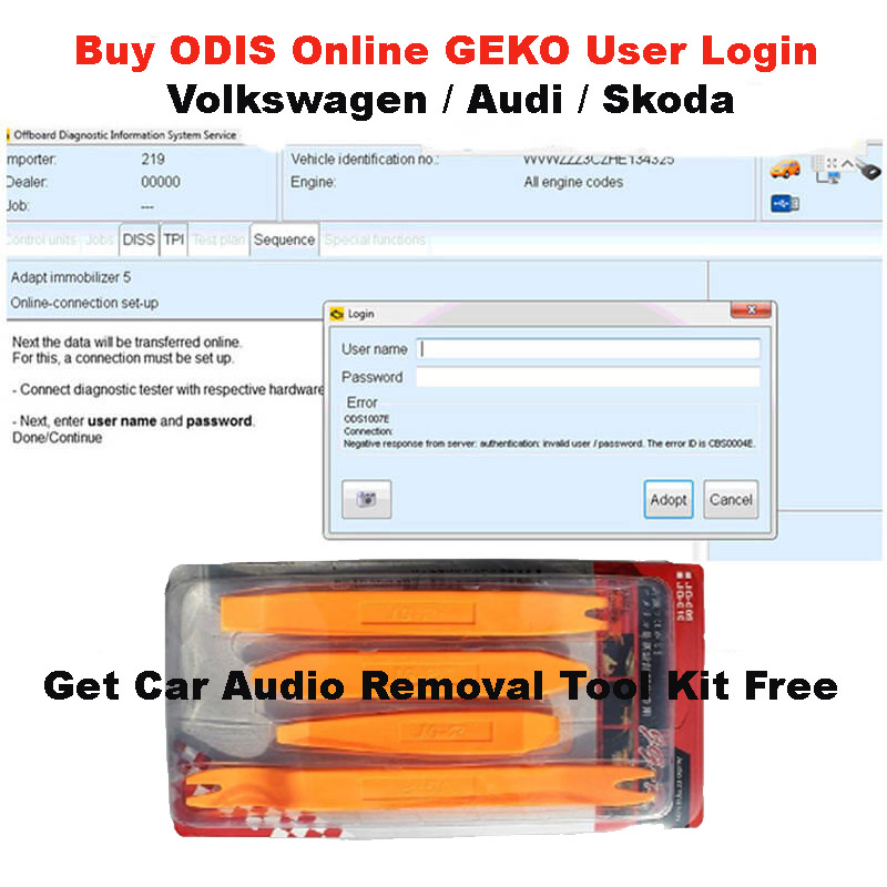 Buy ODIS Online Coding Account GEKO User Login Service Get Car Audio Removal Tool Kit Plastic Prying Repair Opening Tool Free