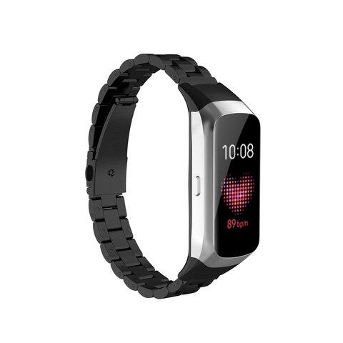 Medium Size Unisex for Samsung Galaxy Fit SM-R370 Watchband Smart Watch Three Beads Stainless Steel Strap Smartwatch Accessories Islamabad