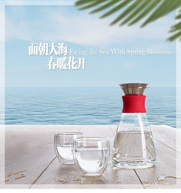 Glas Kaltem Wasser Wasserkocher oder Eis Karaffe Groß Saft Flasche Dicht Topf Solo Kalten Glas Wasser Flasche 1000ml LFGB in Auf Lager Artikel