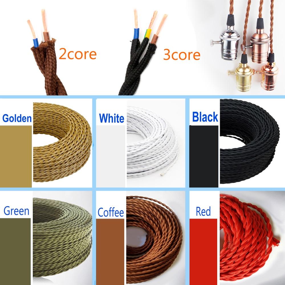 2, четыре ядра, 3 ядра 0,75 мм Винтаж из тканного текстильного материала; Электрические провода Ретро Цвет твист плетеный гибкий Мощность кабел...