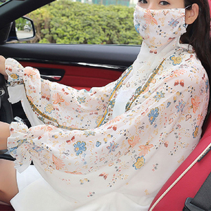 Summer Chiffon Scarf For Women Shade Long Sleeves Neck Guards Floral Printed Thin Section Women Shawls Outdoor Driving Sunscreen