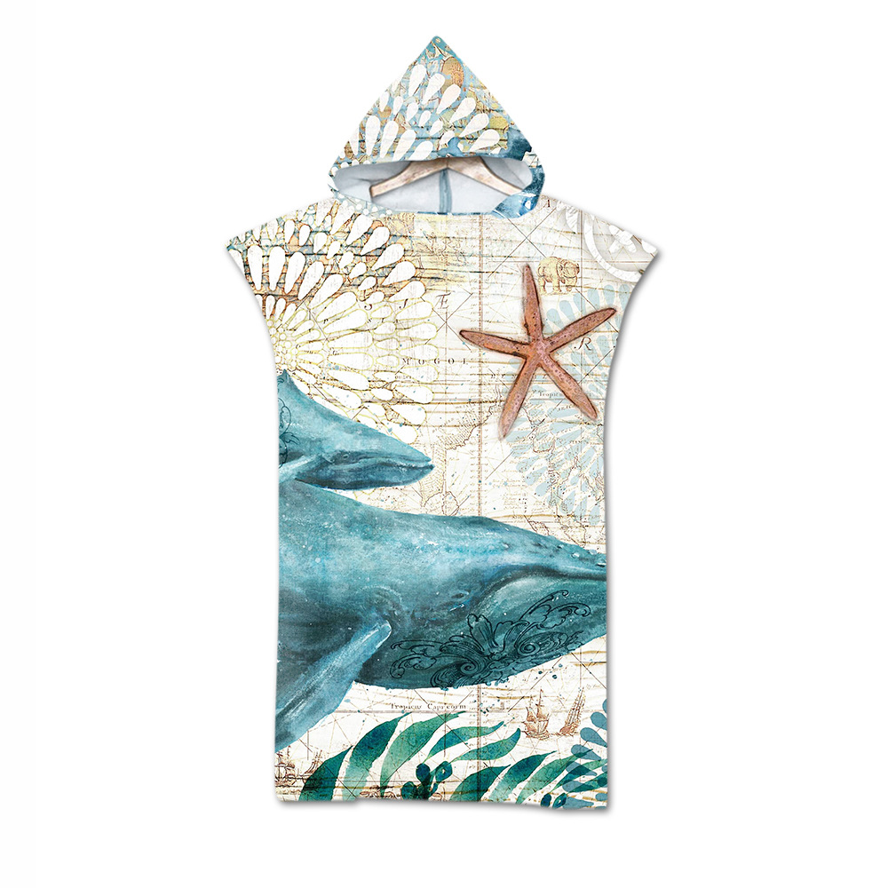 Hot Selling Digital Printing Beach Towel Adult Hooded Bath Towel Superfine Fibre