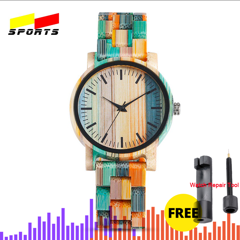 QW deportes Montre Bambu Dama Madera Relojes De Mujer De pulsera mujeres logotipo personalizado reloj De Madera