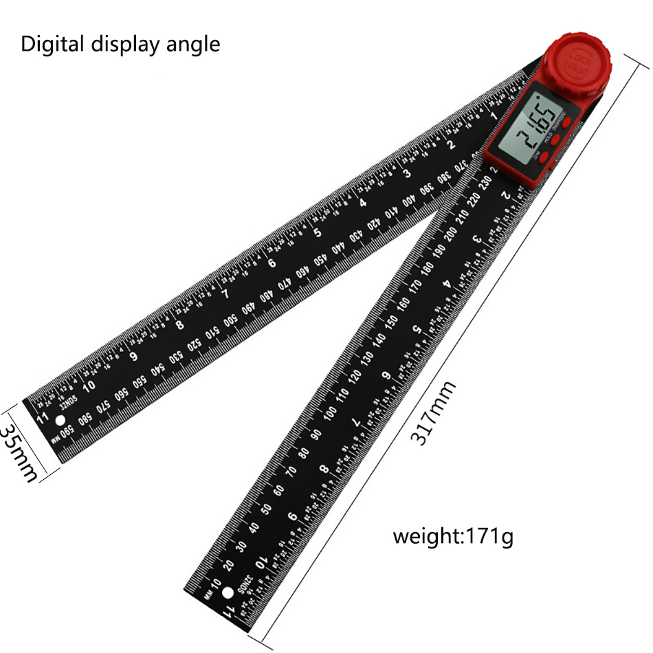 360 Digital Angle Ruler LCD Display Carbon Fiber Inclinometer Electron Goniometer Protractor Angle Finder Meter Measuring Tool