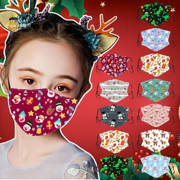 Kids Children XMAS Christmas Cartoon Adjustable Washable Safet Face Filter Mask respirator Cover Mouth Masker School Students