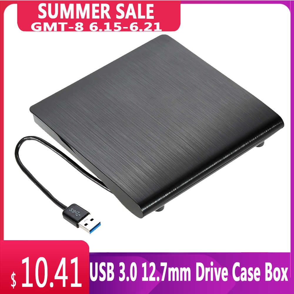Ultra Slim Portable USB 3.0 Eksternal Drive Case SATA 12.7Mm CD-ROM Eksternal Optical Disk Drive Case Kotak untuk PC laptop Notebook