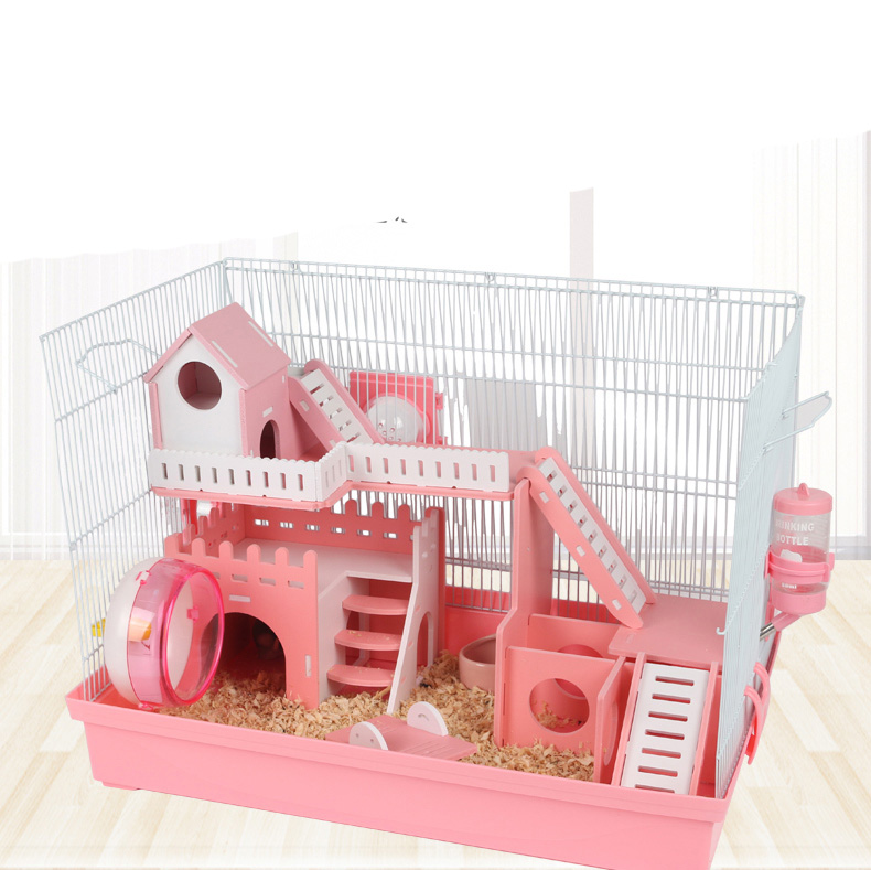 Pet Products Hamster Cage Package Comes With Runner Slide Terrarium Double-decker Made By Plastic Fence Protection Design