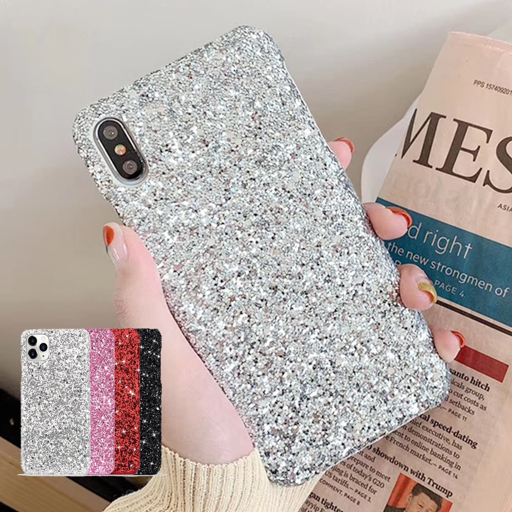 Women Bling Sparkle Glitter Phone Case for iPhone 11 Pro Max X Xr Xs Girl PC Hard Cover for iPhone 8 7 6 6S Plus SE2 12 Pro Max