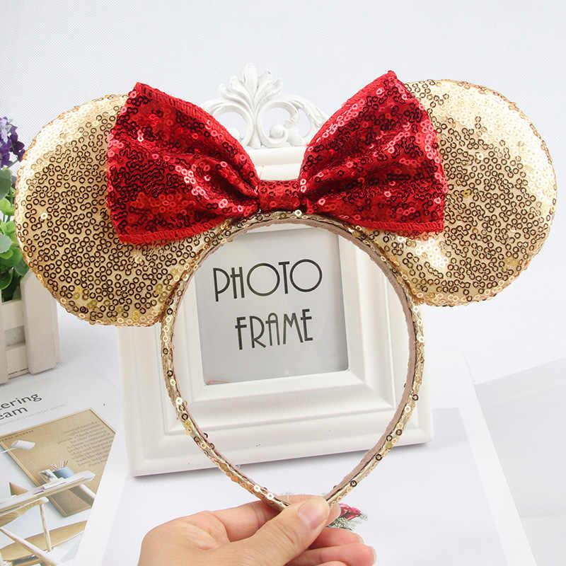 คริสต์มาสHeadbandsน่ารักหญิงBows Minnie Mickeyหูเลื่อมแถบคาดศีรษะอุปกรณ์เสริมผมเด็กผู้หญิงHead Partyฉลอง