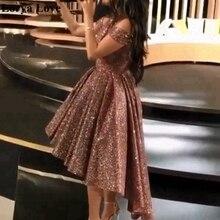 Rose Gold Short Front Long Back Graduation Prom Dresses Shin